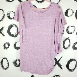 Isabel Maternity Top Ruffle Sleeve Heathered Pink